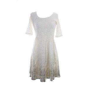 Maison Jules Eggnog Short-Sleeve Metallic Dress